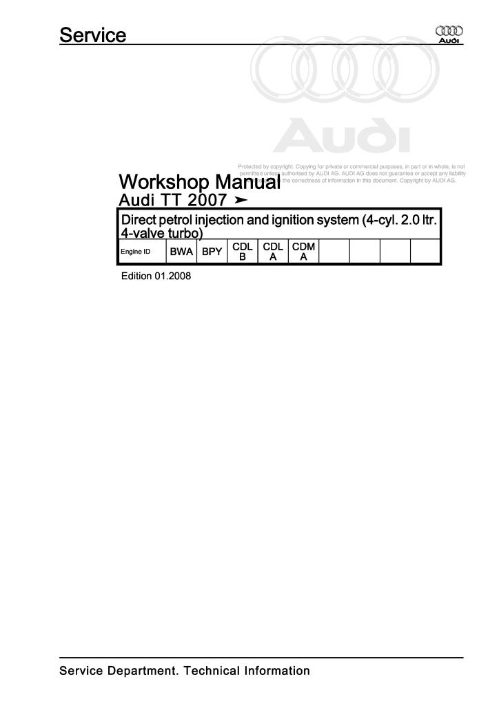 Information Services AUDI TT 8J MK2 TTS TT RS 2006-2014 WORKSHOP ...